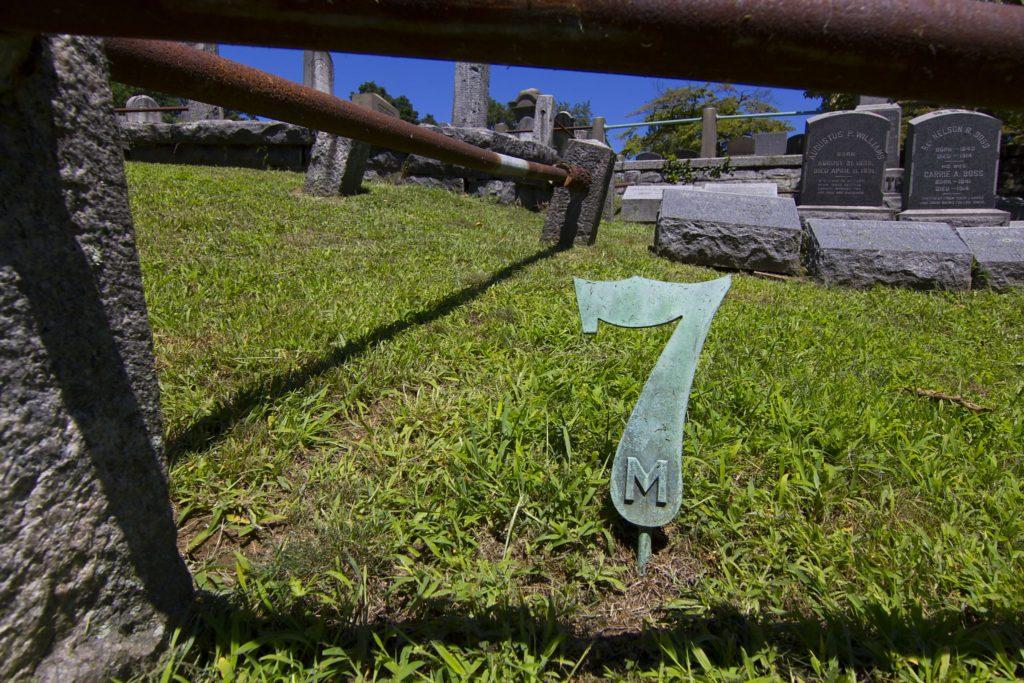 Bronze number 7 grave marker